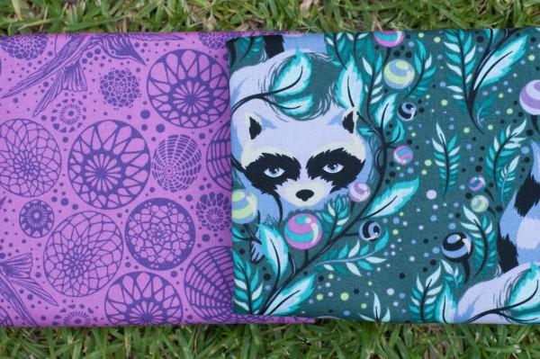 Tula Pink Acacia Fabrics - Racoon & Humming Bird
